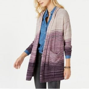 NWT Style & Co Marled-Knit Hooded Cardigan Purple